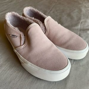 Vans Women's 7 Slip On Sherpa Suede Lavender Shoes